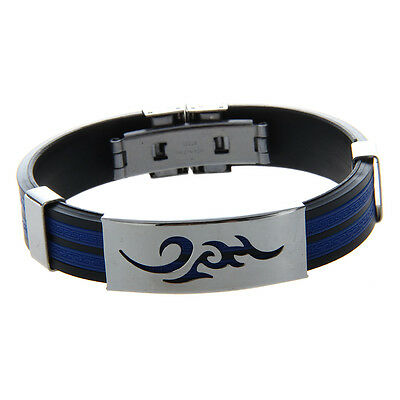 07S8 Stainless Steel Cloud Black Blue Silicone Bangle Cuff Bracelet Wristband M