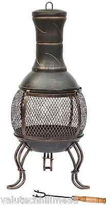 Wildon Home Steel Chiminea BLACK & ANTIQUE GOLD LARGE