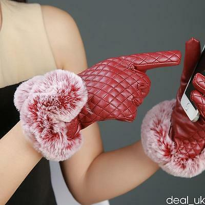 Womens Ladies Dressy Gloves Genuine Leather Thermal Lining Rabbit Fur Cuff