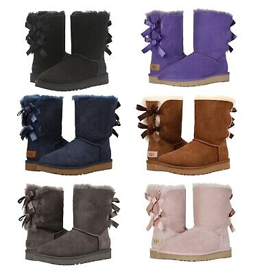 0da8f94ce NEW Authentic UGG Women's Bailey Bow II Winter Boots Shoes Black Chestnut  Blue