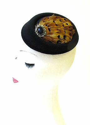 Black Bronze Tan Brown Pheasant Feather Pillbox Hat Fascinator Hair Clip 1317