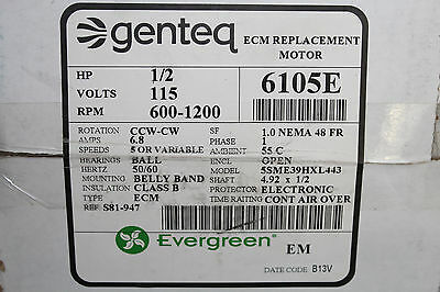 Genteq Evergreen Motor 6105E 1/2 HP 115V