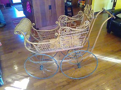 "*SALE*1890s VICTORIAN BROWN WICKER RATTAN ""PRAM"" BABY BUGGY CARRIAGE w/o PARASOL"