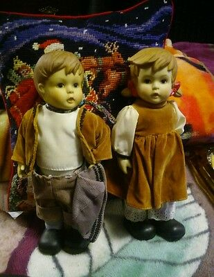 "Hansel and Gretel Bisque Dolls - 10"" tall - Jointed - from an Estate"