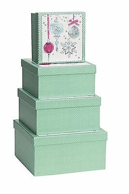 Luxury Christmas Gift Boxes - Bauble Design - Nest 4 Square Boxes REDUCED