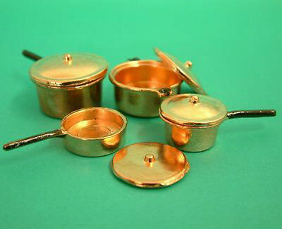 Dolls House Miniatures Set of 4 Copper Pot & Pans   in 12th scale