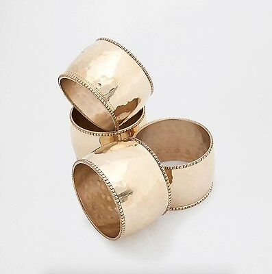Zara Home Hammered Gold Napkin Rings Set of 4 Christmas Dining Brand New