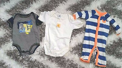 Dc , Carters & Jogging Baby Set Of 3 Lot Onesies 3 Months Boy Or Girl