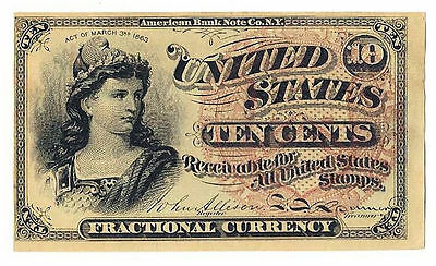 FR 1257 10c Fractional Currency Civil War Era Note Red Seal Watermarked paper