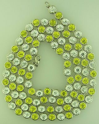 Mens One Row  Iced Out Yellow And Clear Cz 36 Inches Silver Chain Big Stones