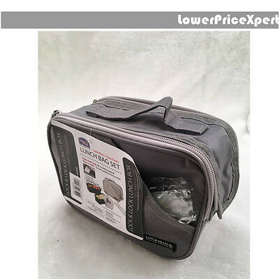 Lock & Lock Lunch picnic Box 2pc Set black clear with insulation carry bag