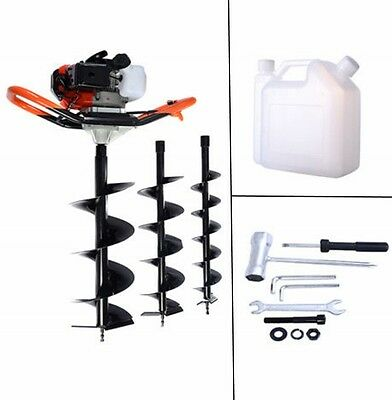 52cc Petrol Earth Auger 3HP, V Type Post Hole Borer Ground Drill With 3 Bits.New