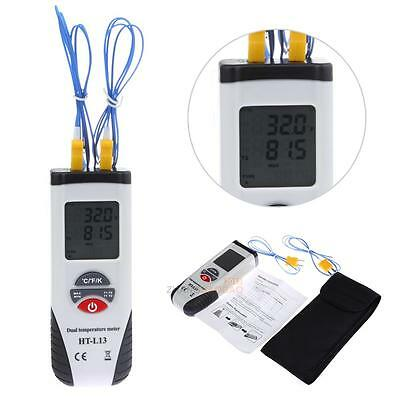 Digital Thermocouple Type K Dual Input Thermometer Data Hold -200~1372℃ + Cable
