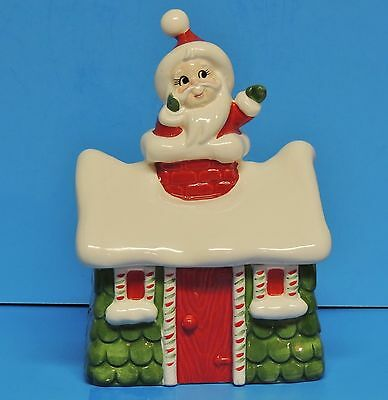 Santa Claus Christmas House Covered Candy Cookie Container Dish Jar by Lefton