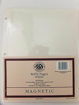 Magnetic Refill Pages 9x11 Windsor & Browne 10 Sheets For 3 Ring Album Off White