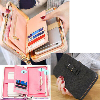 Women Leather Phone Pocket Wallet Large Capacity Clutch Handbag  Trifold Purses