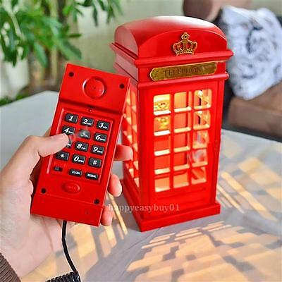 Telephone Booth Shape Corded Telephone Wired Phone with LED Night Table Lamp