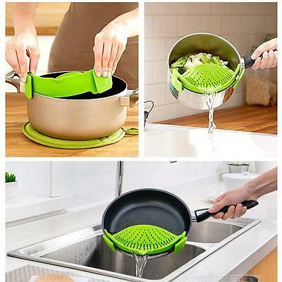 Kitchen Pan Strainer SNAP'N STRAIN Clip-on Silicone Pasta Draining Liquid Home
