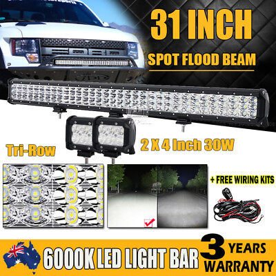 "28""Inch 630W PhilipsTri-Row Led Light Bar Spot Flood Offroad+2X 4"" 30W Work Lamp"