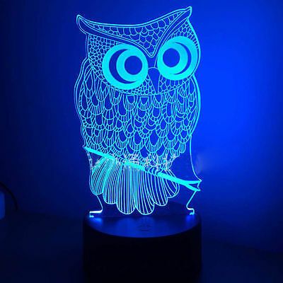 3D Owl LED Night light USB Color Change Touch Table Desk Lamp Remote Controller