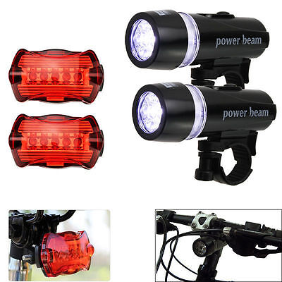 2x 5LED Lamp Bike Bicycle Front Head Light +Rear Safety Waterproof Flashlight HY