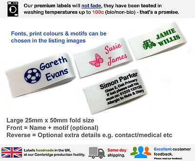 32 Woven Alt Personalised School Nursery Name Identity Sew In Satin Labels