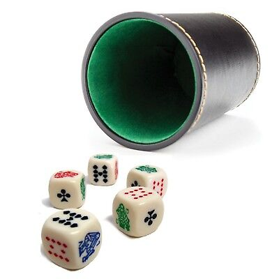 """New 4"""" Tall Synthetic Leather Dice Cup & Set of 5 Bicycle 16mm Poker Dice"""