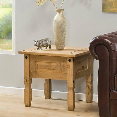 Corona Lamp / End Table - Mexican Solid Pine, Rustic, Distressed