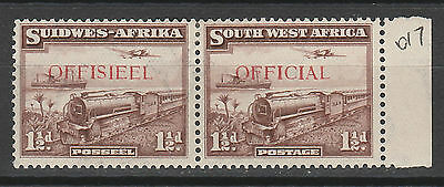 South West Africa 1938 Train Official 11/2D Pair