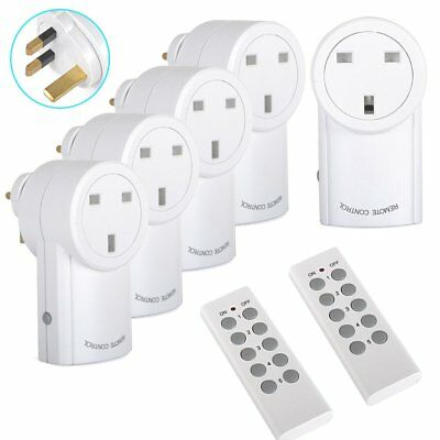 5x Wireless Remote Control Light Socket Switch Mains AC Power Outlet UK Plug