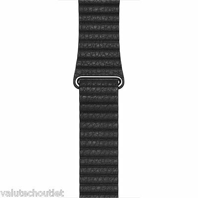 Genuine Original Apple 42mm Black Leather Loop Strap for Apple Watch - Large