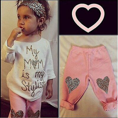 2pcs Toddler Kids Baby Girl Clothes T-shirt Tops+Long Pants Leggings Outfits Set