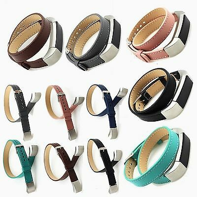 Genuine Leather Bracelet Watch Band Single / Double Wrist Strap For Fitbit Alta