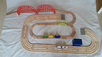 Brio Trains And car layout, BIG + buildings and bridges.