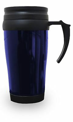 Thermal Insulated Travel Coffee Mug 0.45L Flask Cup Removable Lid Blue