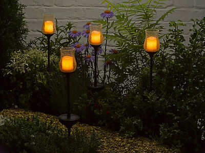 2 Solar Powered Candle Stake Lights Outdoor Tiki Yard Garden Automatic Lighting