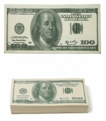 PACKET OF 10 x 100 DOLLAR BILL PRINTED TISSUES - AMERICAN CASH GIFT USA TISSUE