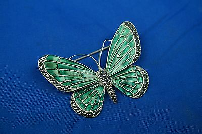 Lovely Large Solid 925 Sterling Silver Enamel And Marcasite Butterfly Brooch