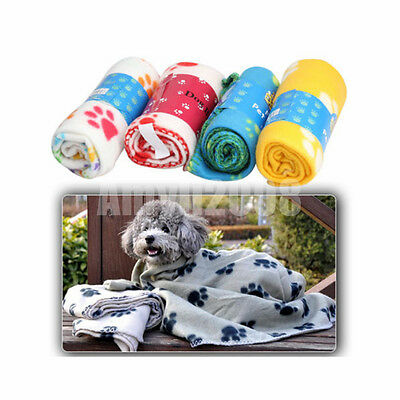 Warm Cozy Soft Pet Dog Cat Puppy Fleece Blanket Bed Mat Paw House Cushion Cover