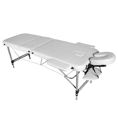 White Lightweight Aluminium 3-Section Reiki Portable Massage Table Couch Bed