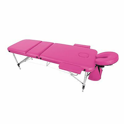 Pink Lightweight Aluminium 3-Section Reiki Portable Massage Table Couch Bed