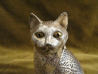 Vintage french silver-plate Christofle pierced animal figurine cat