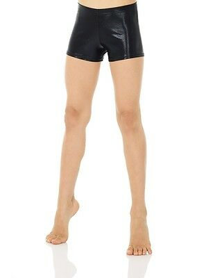 New Mondor Gymnastics Shorts 6501 Black Metallic Fabric Size Adult XLarge