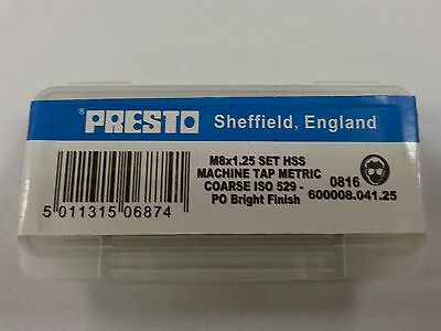 Presto M8x1.25 HSS Machine Hand Taps Metric Coarse Taper/Second/Plug Set