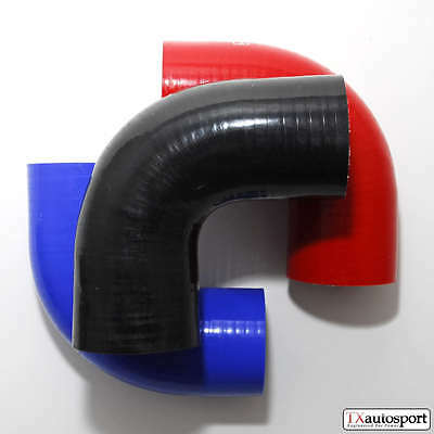 "2.5"" 63mm 4PLY Silicone Hose 90 degree Elbow Bend - Black"