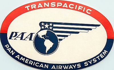 PAN AMERICAN AIRWAYS System ~TRANSPACIFIC~ Great Old Airline Luggage Label, 1955