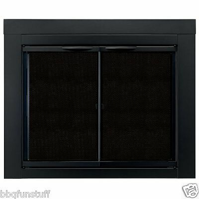 Pleasant Hearth Glass Fireplace Door Alpine Black Small AN-1010 Mesh Screens New