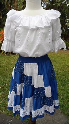 "2 Pc ""Square Up"" Royal Blue/White Eyelet Cotton Square Dance Blouse & Skirt S-M"