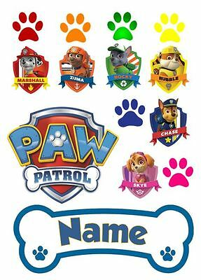 Paw Patrol Personalised Edible Icing Cake Decoration BLUE Set