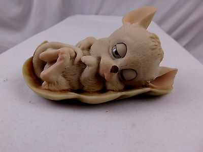 G. Armani Signed Adorable Porcelain Sleeping Mouse Figurine In Leaf